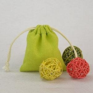 Buy Cute Green Muslin Cotton Drawstring Candy bag at wholesale prices