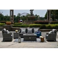 Quality PAF-1801 Only Sell to US Outdoor Rattan Wicker Detachable Patio Gas Fire Pit Sofa Set for sale