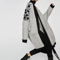 Apparel & Fashion Women Fashion Oversize Cardigan Sweater with Embroidery