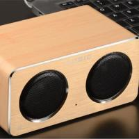 Quality Factory Dual Horn Loudspeakers Portable W2 Mini Wooden Wood Wireless Speaker for sale