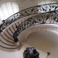 Wrought Iron Railing Luxurious curved wrought iron stair railing for hall S-R-0008|LONGBON