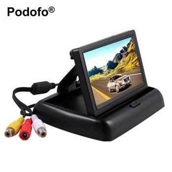 "Buy Podofo 4.3"" HD Foldable Car Rear View Monitor Reversing Color LCD TFT Display Screen at wholesale prices"