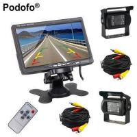 Quality Podofo Dual Backup Camera and Monitor Kit For Bus Truck RV, LED Night Vision Rearview for sale