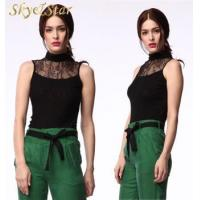 Buy cheap New design turtle neck lace sleeveless ladies black sexy bodycon tops from wholesalers