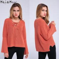 Buy cheap New style casual clothes red V-neck knit top women from wholesalers
