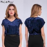 Buy cheap Hot sale navy short sleeve V neck velvet blouses from wholesalers