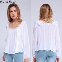 Buy cheap New oem white lace trim fashion design lady blouse from wholesalers