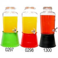 Buy cheap 8L OLD FASHION GLASS BEVERAGE DISPENSER W/COLORED ICE BUCKET from wholesalers