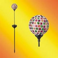China Solar Gazing Ball with Tiffany Glass, 1 White Color LED and Painted Iron Pole on sale