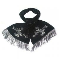 China Dyed Silk Beading Long Scarf on sale